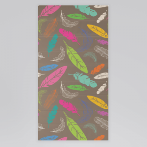 Roleta rzymska - COLORFUL FEATHERS ON BROWN BACKGROUND